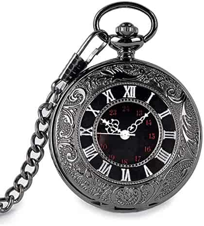 Vintage Pocket Watch, Classic Roman Number Japan Movement Men Women Watch with Belt Clip Chain Black