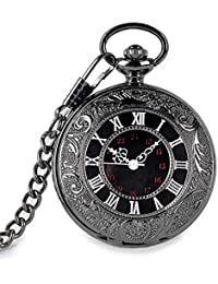 Vintage Pocket Watch Classic Roman Numerals with Belt Clip Chain Black