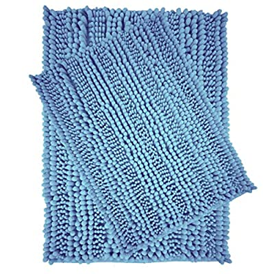 Polyte Premium Microfiber Shaggy Chenille Bath Mat Non Slip, 20 x 32 in / 17 x 24 in, Set of 2 (Blue) - Experience the plush and super soft feeling of our microfiber shag bath mat Ultra-absorbent chenille microfiber captures water, preventing a slippery wet floor Keeps your feet comfortable, cozy, and protected from the hard cold floor - bathroom-linens, bathroom, bath-mats - 51rY2Eir4zL. SS400  -