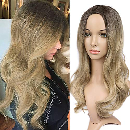 HANNE Ombre Blonde Wig Long Wavy Wig Heat Resistant Synthetic Hair Wigs for Women (4/Blonde) (Blonde On Top And Brown On Bottom Hair)