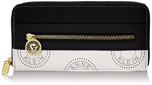 Anne Klein New Recruits Perforated Signature Zip Around Wallet WhiteBlack Multi One Size