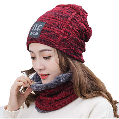 Hellofuture 2-Pieces Winter Beanie Hat Scarf Set Warm Knit Hat Thick Fleece Lined Winter Hat & Scarf for Men Women (Wine Red 2)