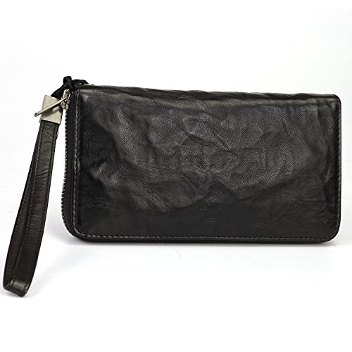 Geremen Men's Handmade Leather Bifold Clutch Wallet Ms01 (freesize, Black)