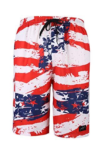 Trailside Supply Co. Men's Swim Trunks Quick Dry Board Short Summer Beachwear with Pocket American Flag Small