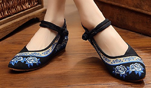 Shoes Casual Rose Chinese Black Embroidery Crown Jane Mary Tianrui Wedge Women's ygq7T48
