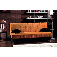 BEYAN Rio Collection Upholstered Chenille Sofa Bed with Storage, Solid Wood Frame, and Steel Innersprings, Orange