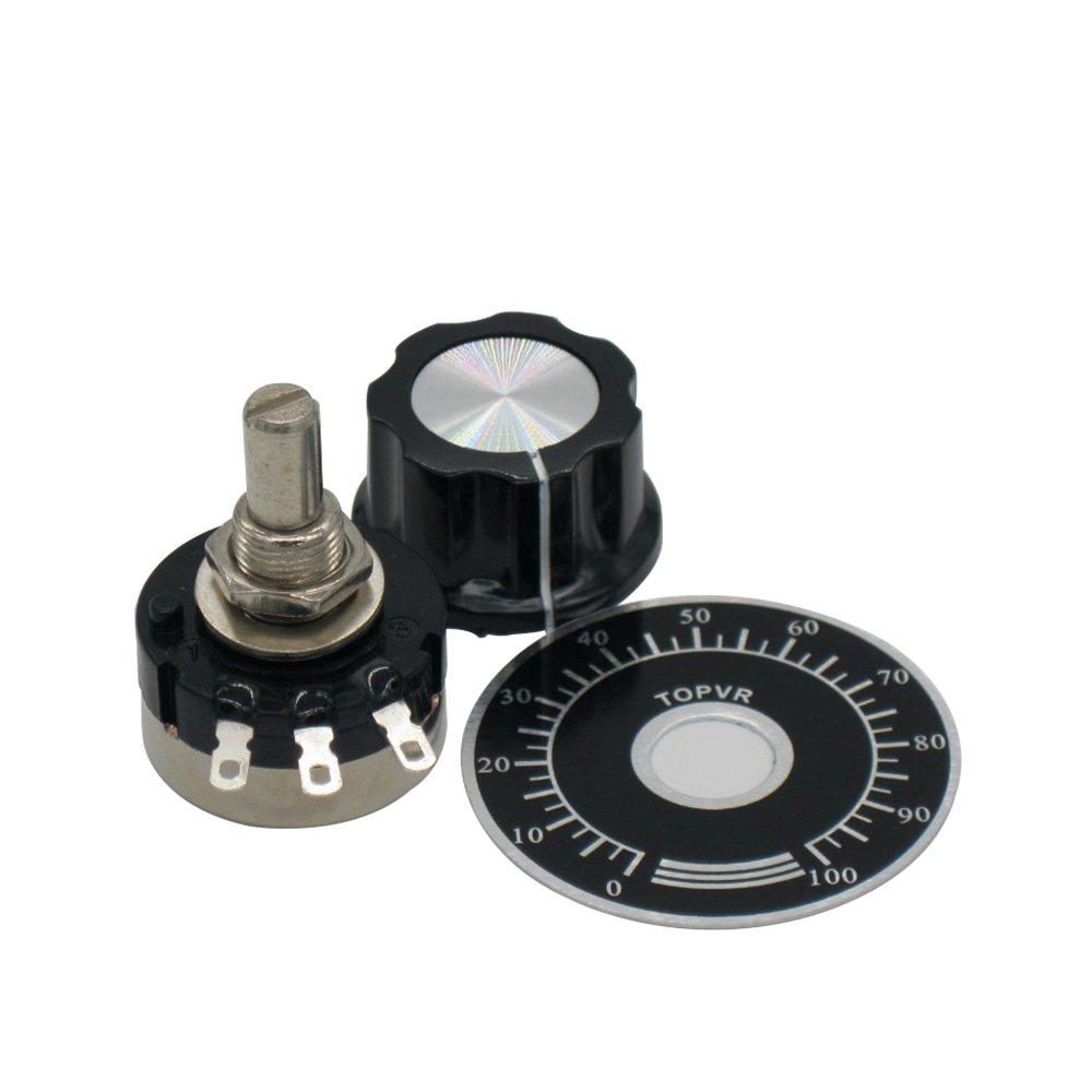 2pcs RV24YN20S Single Turn Carbon Film Rotary Taper Potentiometer Used for Inverter speed regulation. Motor speed control + 2pcs A03 knob + 2pcs dials (B502 5K ohm)