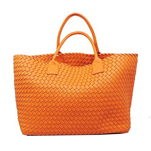 Vegetable Female Basket Bag Woven Fashion Shoulder Bag Green Yukun Double Woven Bags Hand Lady Portable Big Sided Orange Women's Color Bag Bag xZaa4qvnwA