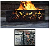 PD Metals Steel Campfire Fire Ring Dragonfly Design - Unpainted - with Cooking Grill - Large 48 d x 12 h Plus Free eGuide