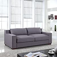 Divano Roma Furniture Signature Collection - Modern Capri Linen Sofa with Real Goose Feathers and Wide Track Arm Rests, Dark Grey, Light Grey, Beige, and Brown (Light Grey)
