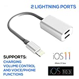 iPhone 7 Splitter Cable Adapter, by Tip-Top Home Goods, 2 in 1 Dual Lightning Headphone Jack Audio & Charger Adapter, 7 / 7 plus iOS 10.3 and iOS 11 (does not support iPhone 8)