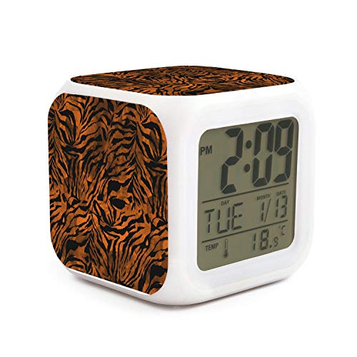 Vernely Zebra Gradient Tie Dye Colorful Camouflage Home LED Digital Display Alarm Clock, Seven Color Light Cycle Change, Colorful Light Therapy, Relieve Work Pressure ()