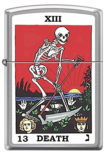 Tarot XIII Death Card skeleton with Sickle Chrome Zippo Lighter Chrome Chrome Zippo Lighter