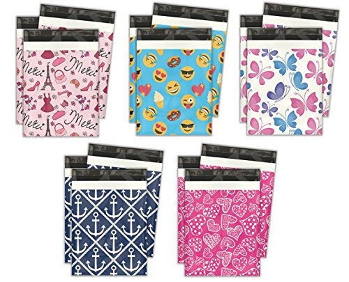 10x13 Variety Pack #2 Designer Poly Mailers Shipping Envelopes Premium Printed Bags 5 Designs (Variety Designer)