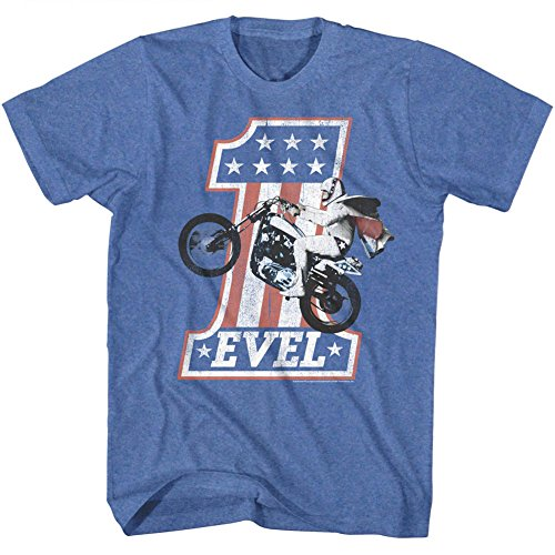 American Classics Evel Knievel Iconic Daredevil One Evel2 Retro Royal Heather Adult T-Shirt Tee, Blue, ()