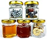192 Piece, Space Saving, 1.5oz Mini, Hexagon, Clear Glass Jars; Perfect for Honey, Jams, Spices, Party Favors. Includes Gold Lids for Canning.