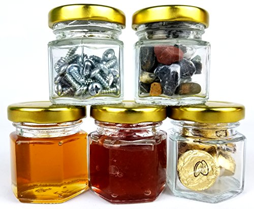 24 pack 1.5oz Mini Hexagon Jars for Essential Oils, Honey, Spices, Favors, and Canning with Gold Safety Button Lid