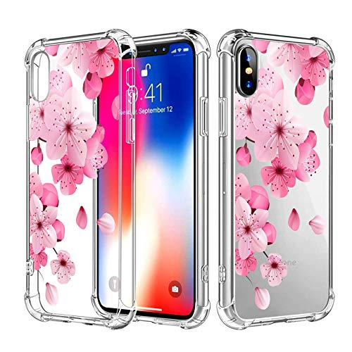 Topwin iPhone Xr Floral Soft TPU Case, Clear Crystal Floral Flower Pattern Slim Thin Lightweight Flexible TPU Transparent Case with Four Bumpers for Apple iPhone Xr 6.1 inch (Peach Blossom)