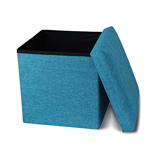 Storage Ottoman Cube Folding Ottomans with Storage Foot Rest Stool Seat Foldable Storage Ottoman Square Toy Chest Padded with Memory Foam Lid Sofa for Space Saving 11.8x11.8x11.8 inch, Turquois (Storage Ottoman Square)