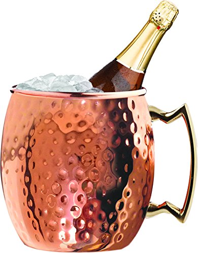 Steel Moscow Mule Hammered Wine Cooler/Chiller, Champagne & Whiskey Ice Bucket - 5 Quarts (Hammered Stainless Ice)