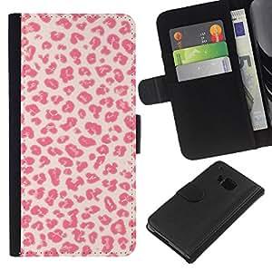 KLONGSHOP // Tirón de la caja Cartera de cuero con ranuras para tarjetas - Patrón Besos Amor Piel rosada - HTC One M9 //