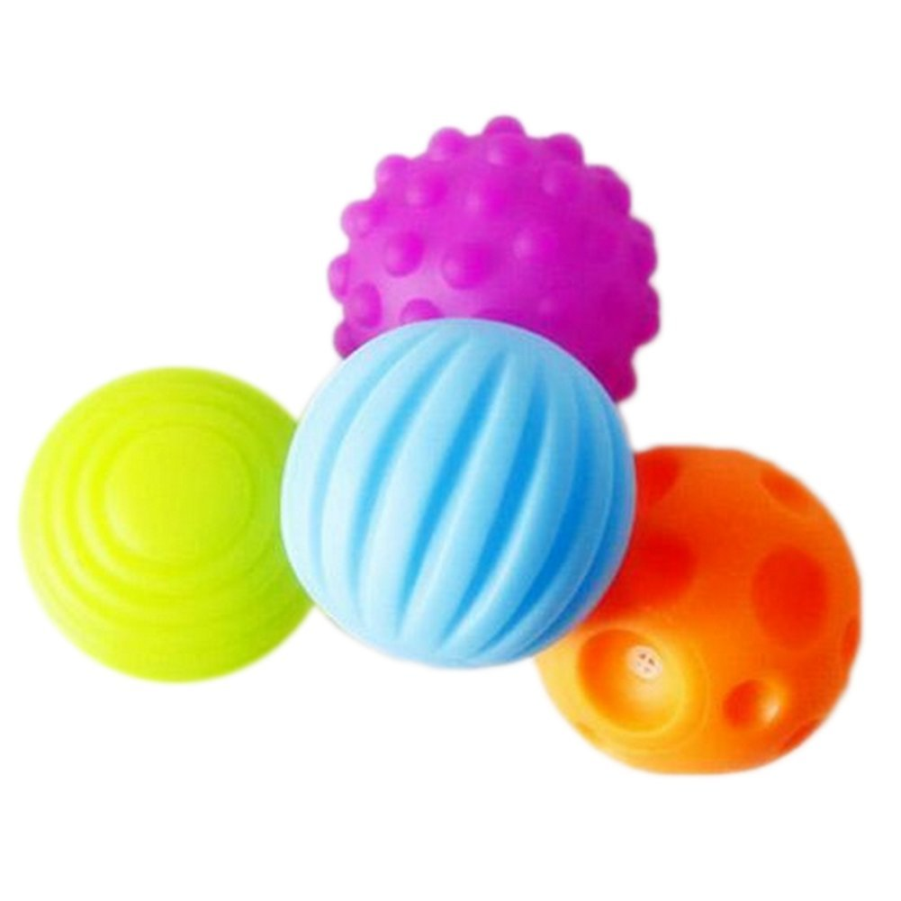 LAAT 4 Pcs Soft Sensory Balls Baby Hand Catch Massage BB Ball with Sound Effect Toys for Kids/Baby