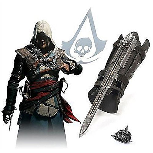 Acrim Toys Assassins Creed IV 4 Black Flag Pirate Hidden Blade Cosplay Replica With Skull Buckle