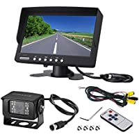 Heavy duty Vehicle camera monitor,Truck Bus Backup Camera System,Waterproof night vision HD wide angle Rear View Camera with 7 inch Monitor kit for Bus Truck Van Trailer RV Campers(12V 24V)