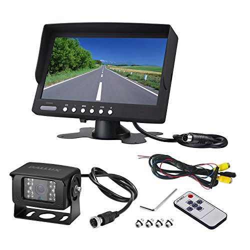 Heavy Duty Vehicle Backup Camera System for Bus,Truck,Van,Travel Camping Trailer, RV, Pickup and Motor Home, Waterproof Night Vision HD Wide Angle Rear View Camera with 7 inch Monitor kit(12V 24V)