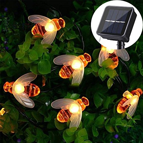 SUNVIE Solar String Lights, 30 LEDs 15FT 8 Modes Starry Lights, Outdoor Waterproof Simulation Honey Bees Lights Decor for Garden Patio Trees Flower Fence Grass Lawn (Warm White) - 15' Led Light String