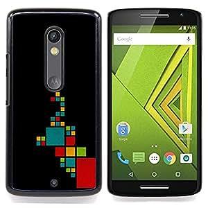 - Pattern Minimalist Teal Red/ Duro Snap en el tel????fono celular de la cubierta - Cao - For Motorola Verizon DROID MAXX 2 / Moto X Play