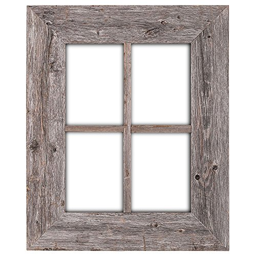 BarnwoodUSA Rustic Wood Window Frames  100% Authentic Reclaimed Wood Weathered Gray Hanger Included