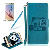 Girlyard For Samsung Galaxy S6 Edge Wallet Leather Case, Cute Panda Vintage Design Folio Flip PU Leather Wallet Folding Stand Case Cover with Wrist Lanyard and Magnetic Clasp, Blue