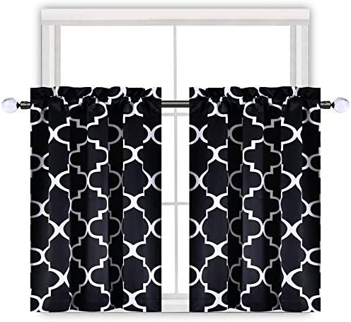 KEQIAOSUOCAI Moroccan Blackout Window Curtains for Kitchen Geometric Lattice Thermal Insulated Tier Valance for Cafe Living Room Bathroom Small Windows 25 by 36 Inches Long Black 2Panels