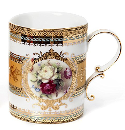 Euro Porcelain Coffee Mug Teacup Gift Set, Old Fashioned Floral Pattern White & Red Roses Bouquet, 24K Gold-plated Bone China Drinkware, Set of 2 x 13 oz.