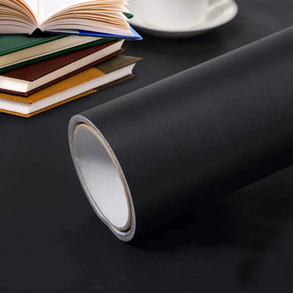 Black Self Adhesive Wallpaper Vinyl Film Sticky Back Plastic Roll Peel and Stick for Wall Door Furniture Worktop Covering DIY (Black) 60cm x 300cm