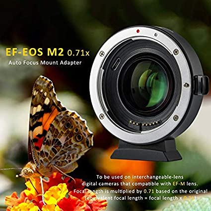 M50 M2 M5 M6 M3 EF-EOS M2 Mount Adapter for Canon EF-Mount Series Lenses to EOS EF-M Mirrorless Cameras EOS M M10 0.71x Focal Reduce USB Firmware Upgrading