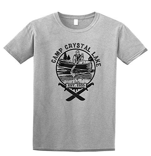 Revel Shore Camp Crystal Lake Jason Friday The 13th T-Shirt (X-Large, Sport Grey)