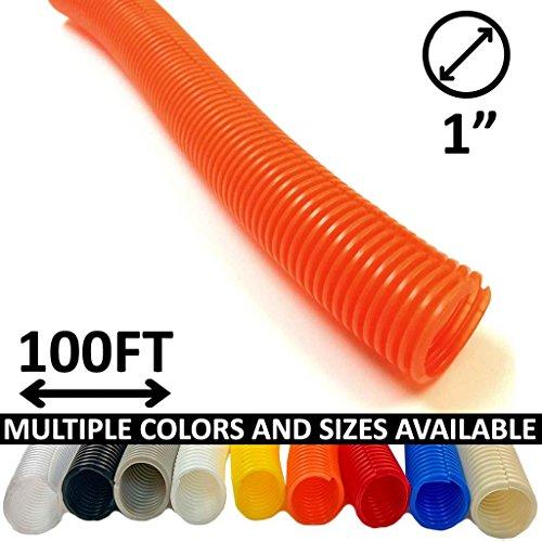 Electriduct 1'' Split Wire Loom Tubing Polyethylene Flexible Conduit - Orange - 100 Feet by Electriduct (Image #3)