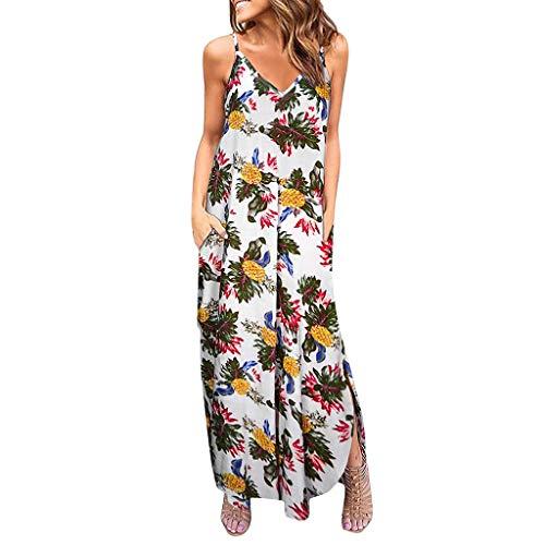 Big Sale,YetouWomens Sleeveless V Neck Spaghetti Strap Pockets Floral Print Beach Boho Tropical Summer Maxi Dress White