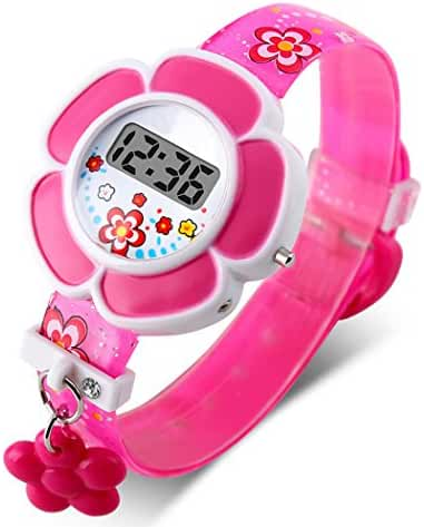 TOPCABIN Kid Children Girls Novelty Cute Flower Shape Digital Watch Rose Red