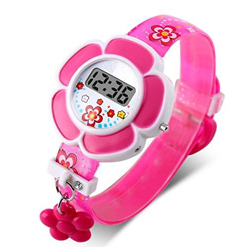 TOPCABIN Kid Children Girls Novelty Cute Flower Shape Digital Watch Rose Red