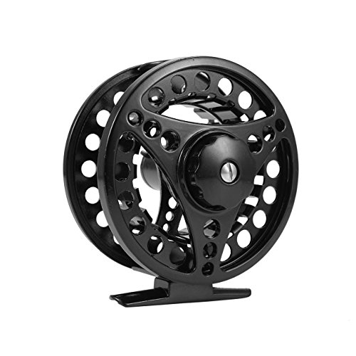 Dyna-Living 3/4 Fly Fishing Reel Large Arbor Left or Right Handed Aluminum for Freshwater with Smooth Spare Spool Black