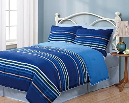 Twin Geo Stripes Blue Reversible Comforter Bedding Set