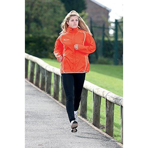 Precision Training Ladies Running Rain Jacket- Pink/Silver Sun Orange/Silver