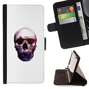Momo Phone Case / Flip Funda de Cuero Case Cover - Neon Polígono cráneo - Motorola Moto E ( 1st Generation )