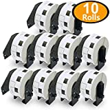 10 Rolls Brother-Compatible DK-1221 23mm x 23mm(10/11'' X 10/11'') 10000 Square Paper Labels With Refillable Cartridge