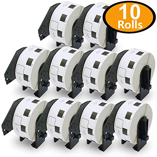 10 Rolls Brother-Compatible DK-1221 23mm x 23mm(10/11'' X 10/11'') 10000 Square Paper Labels With Refillable Cartridge by BETCKEY (Image #2)