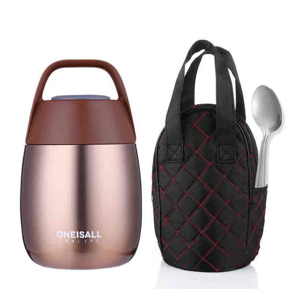 CMXHGKDJ Flasche Eintopf-Nahrungsmittelbehälter-Thermosflasche-thermische Flasche für Nahrungsmittelsuppentopf-Mittagessen-Kasten mit Löffel für Nahrungsmittel- u. Suppenbehälter