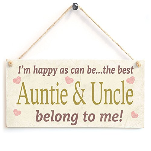I'm happy as can be...the best Auntie & Uncle belong to me! Wood Sign By meijiafei